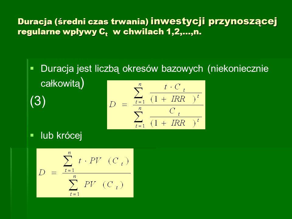 (3) Duracja jest liczbą okresów bazowych (niekoniecznie całkowitą)