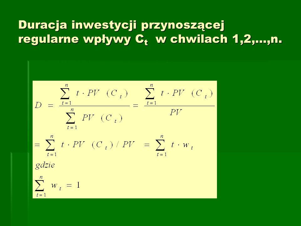 Duracja inwestycji przynoszącej regularne wpływy Ct w chwilach 1,2,…,n.