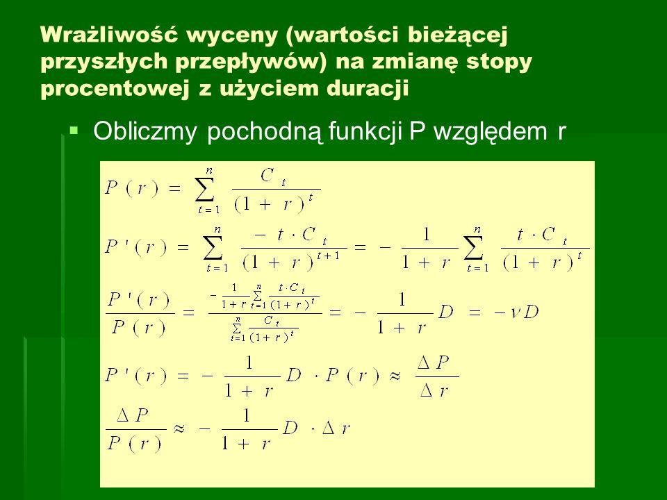 Obliczmy pochodną funkcji P względem r