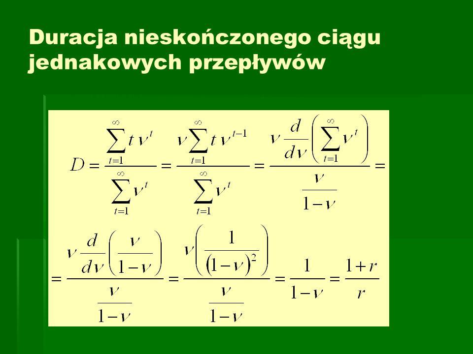 Duracja nieskończonego ciągu jednakowych przepływów