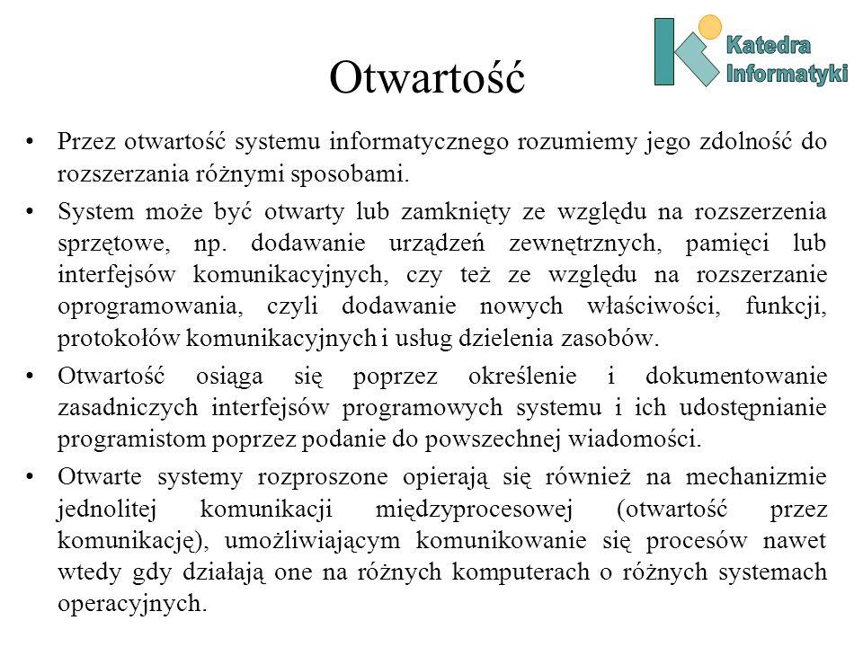 Katedra Informatyki. Otwartość. Przez otwartość systemu informatycznego rozumiemy jego zdolność do rozszerzania różnymi sposobami.