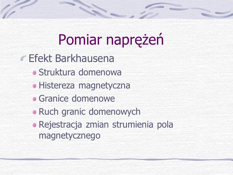 Pomiar naprężeń Efekt Barkhausena Struktura domenowa