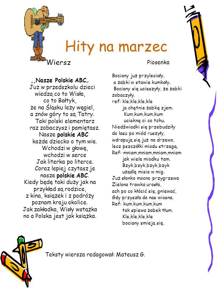 """Hity na marzec Wiersz Piosenka ,,Nasze Polskie ABC"""""""