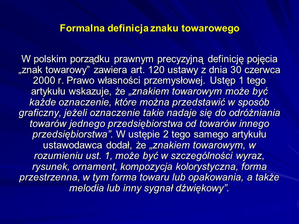 Formalna definicja znaku towarowego