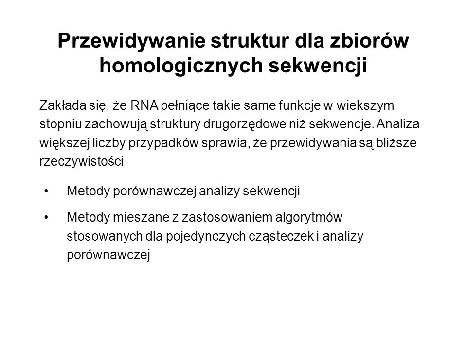 Przewidywanie struktur dla zbiorów homologicznych sekwencji