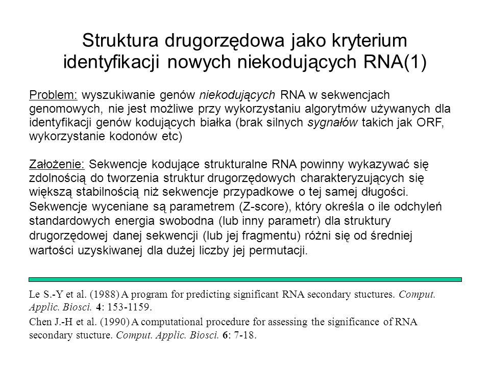 Struktura drugorzędowa jako kryterium identyfikacji nowych niekodujących RNA(1)