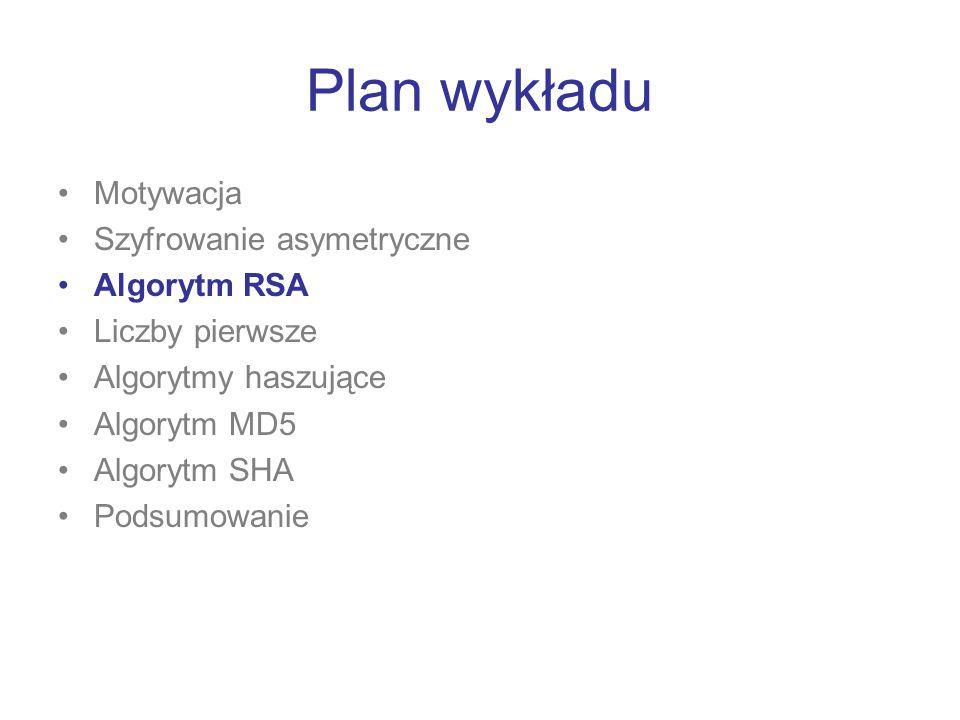 Plan wykładu Motywacja Szyfrowanie asymetryczne Algorytm RSA