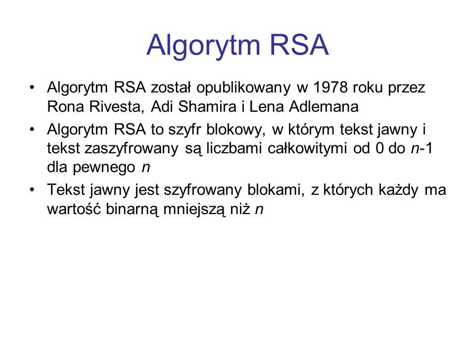 Algorytm RSA Algorytm RSA został opublikowany w 1978 roku przez Rona Rivesta, Adi Shamira i Lena Adlemana.