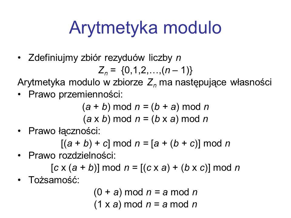 Arytmetyka modulo Zdefiniujmy zbiór rezyduów liczby n