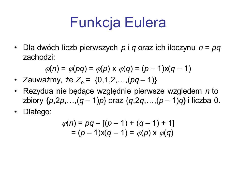 Funkcja Eulera Dla dwóch liczb pierwszych p i q oraz ich iloczynu n = pq zachodzi: (n) = (pq) = (p) x (q) = (p – 1)x(q – 1)
