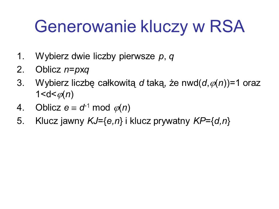 Generowanie kluczy w RSA
