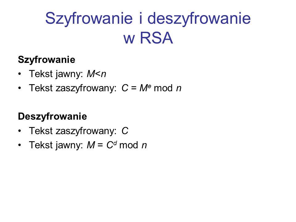 Szyfrowanie i deszyfrowanie w RSA