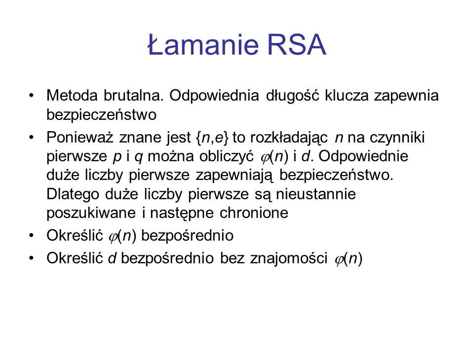 Łamanie RSA Metoda brutalna. Odpowiednia długość klucza zapewnia bezpieczeństwo.