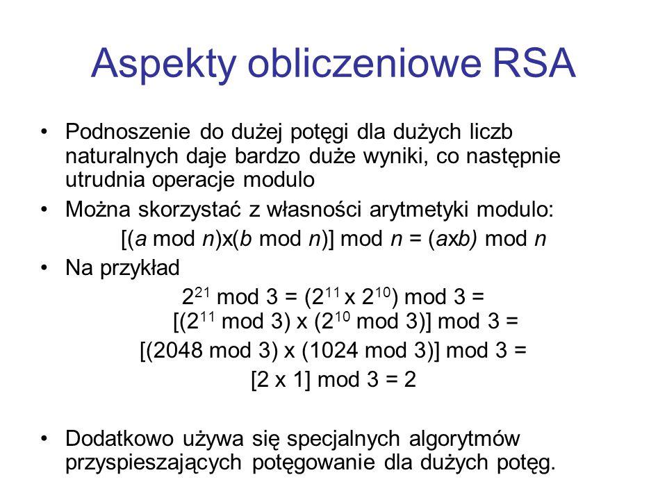 Aspekty obliczeniowe RSA