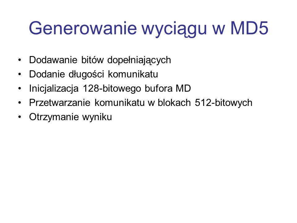 Generowanie wyciągu w MD5