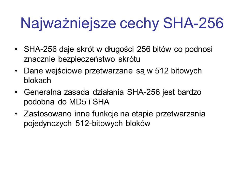 Najważniejsze cechy SHA-256
