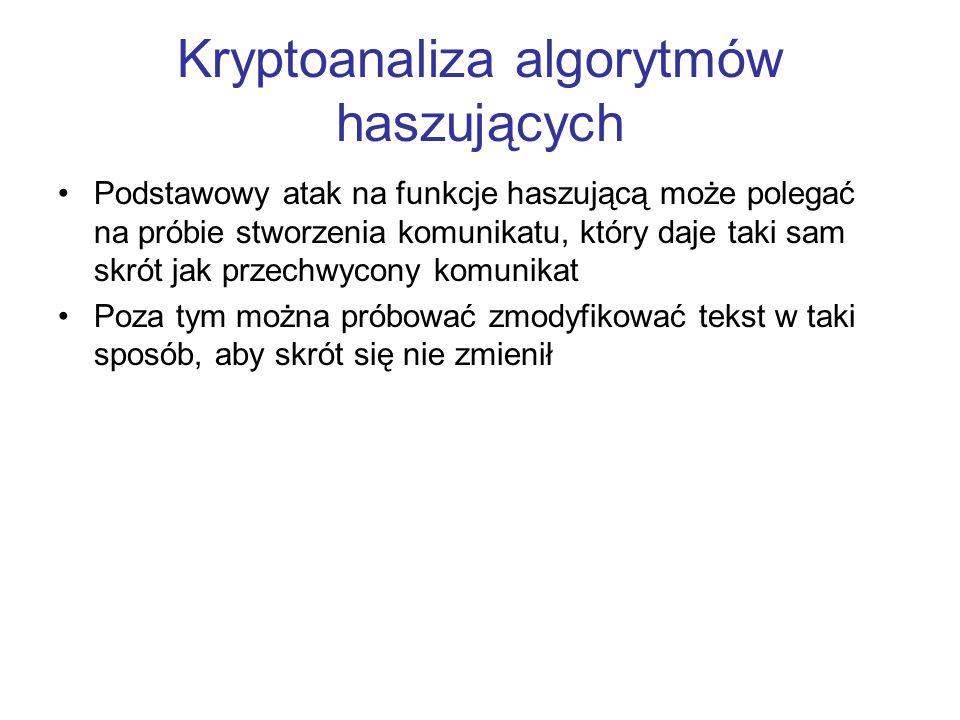 Kryptoanaliza algorytmów haszujących