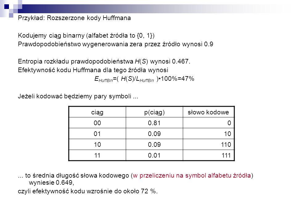 EHuffBin=( H(S)/LHuffBin )•100%=47%