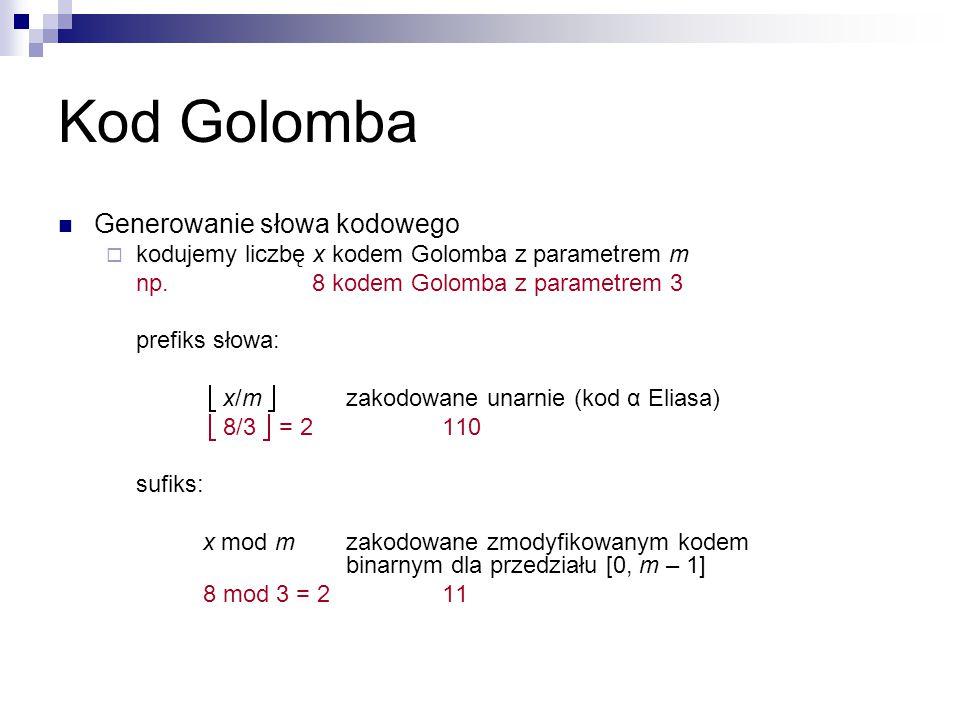 Kod Golomba Generowanie słowa kodowego