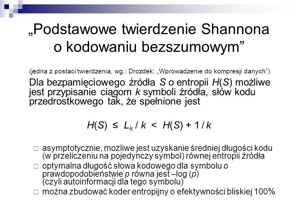"""""""Podstawowe twierdzenie Shannona o kodowaniu bezszumowym"""