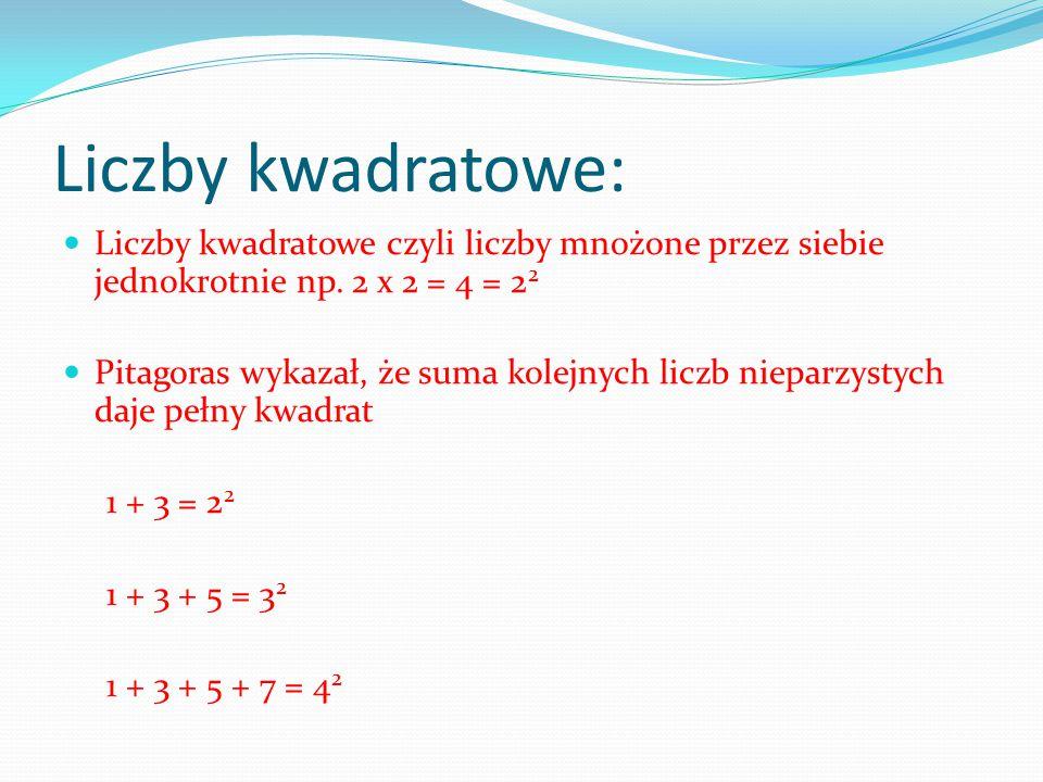 Liczby kwadratowe: Liczby kwadratowe czyli liczby mnożone przez siebie jednokrotnie np. 2 x 2 = 4 = 22.