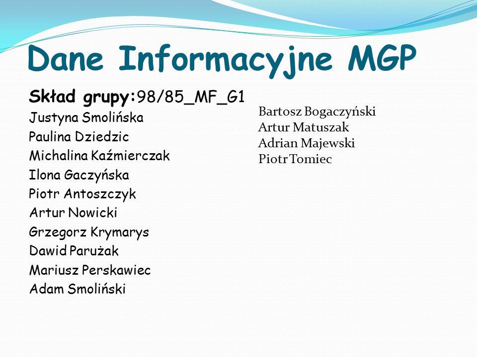 Dane Informacyjne MGP Skład grupy:98/85_MF_G1 Justyna Smolińska