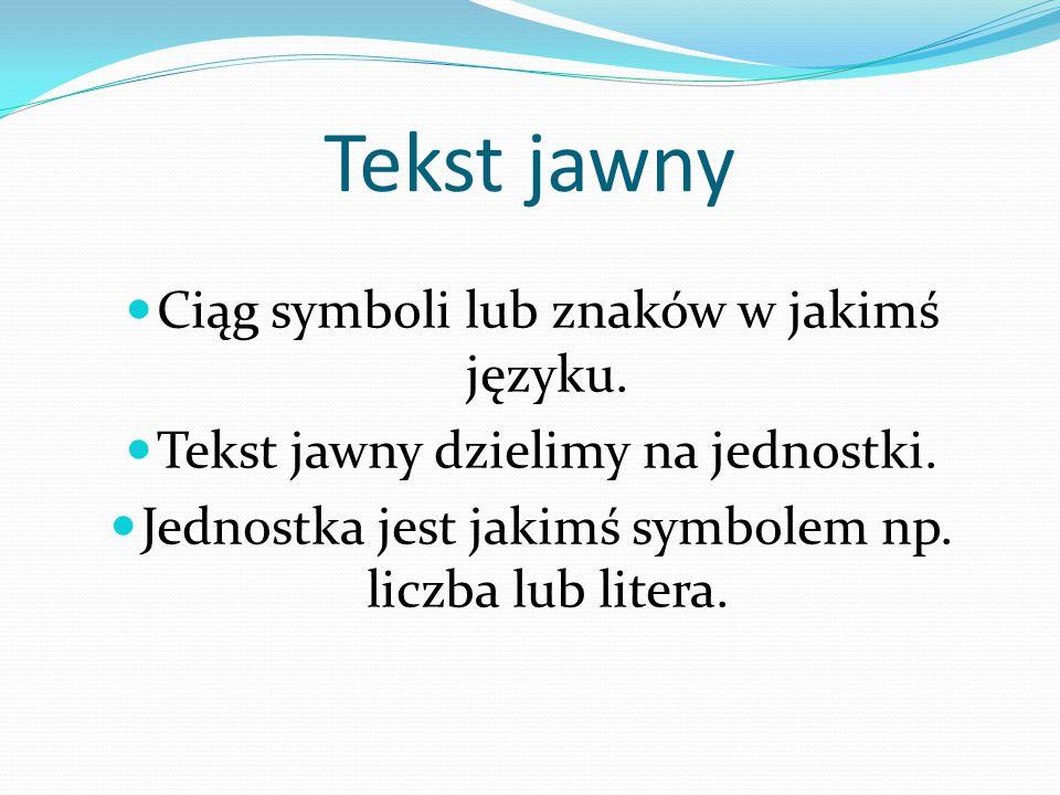 Tekst jawny Ciąg symboli lub znaków w jakimś języku.