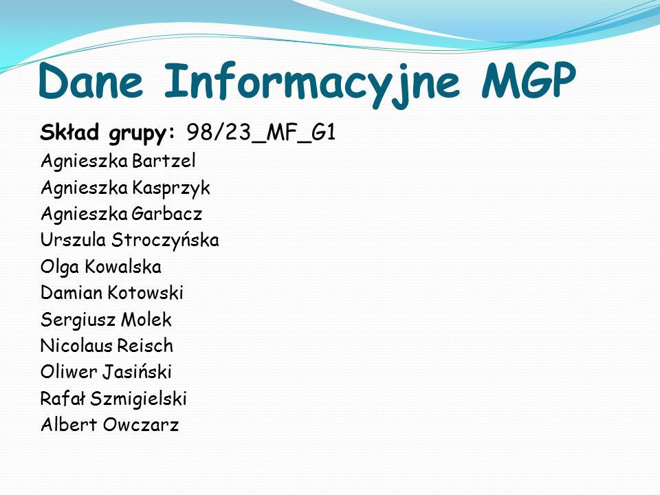 Dane Informacyjne MGP Skład grupy: 98/23_MF_G1 Agnieszka Bartzel