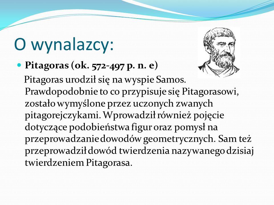 O wynalazcy: Pitagoras (ok. 572-497 p. n. e)