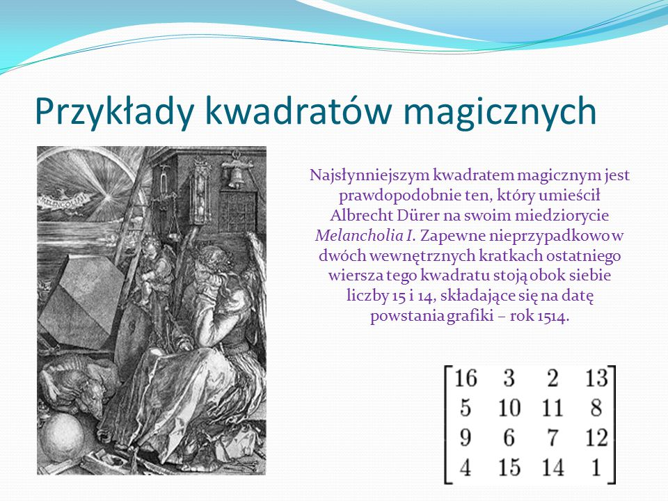 Przykłady kwadratów magicznych