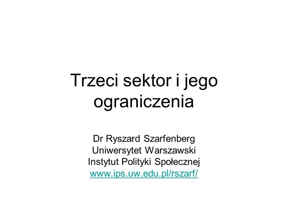 Trzeci sektor i jego ograniczenia Dr Ryszard Szarfenberg Uniwersytet Warszawski Instytut Polityki Społecznej www.ips.uw.edu.pl/rszarf/