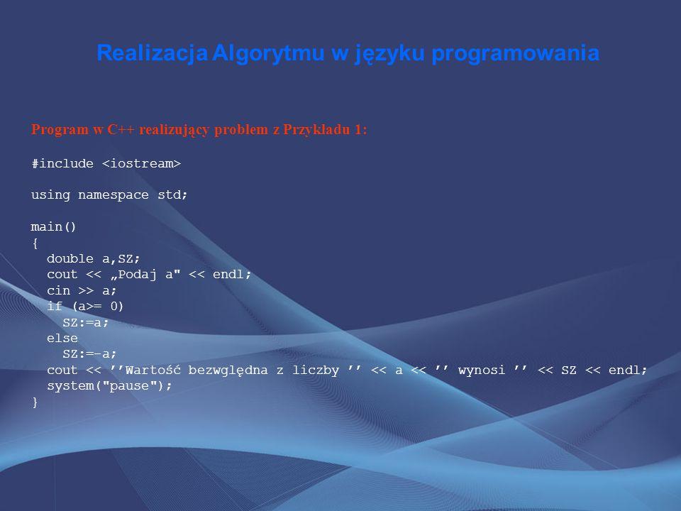 Realizacja Algorytmu w języku programowania