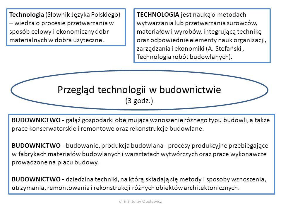 Przegląd technologii w budownictwie (3 godz.)