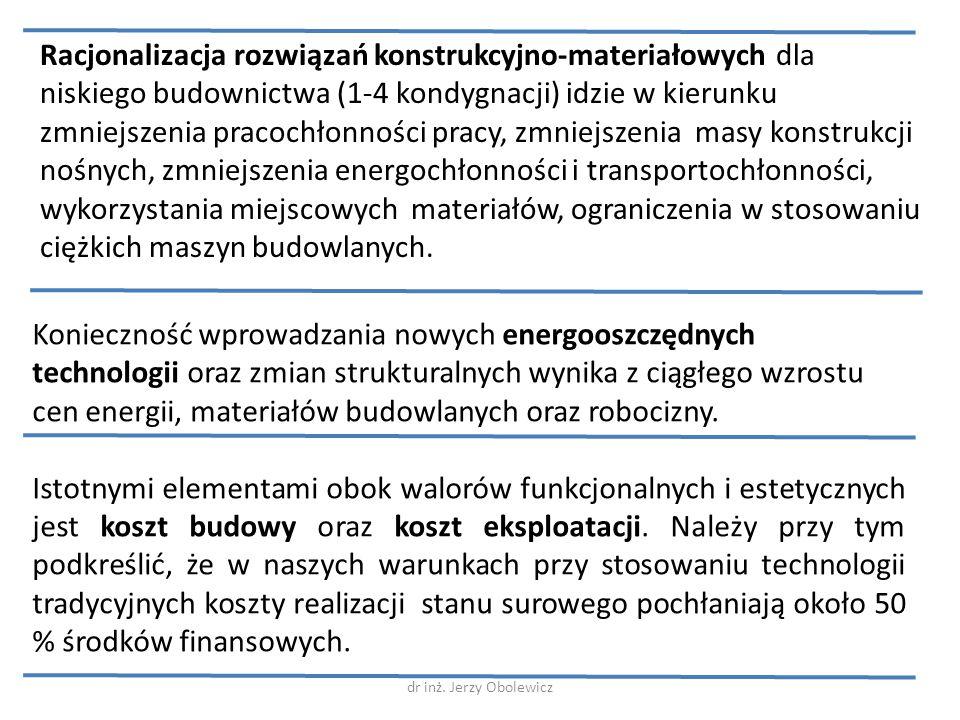 Racjonalizacja rozwiązań konstrukcyjno-materiałowych dla niskiego budownictwa (1-4 kondygnacji) idzie w kierunku zmniejszenia pracochłonności pracy, zmniejszenia masy konstrukcji nośnych, zmniejszenia energochłonności i transportochłonności, wykorzystania miejscowych materiałów, ograniczenia w stosowaniu ciężkich maszyn budowlanych.
