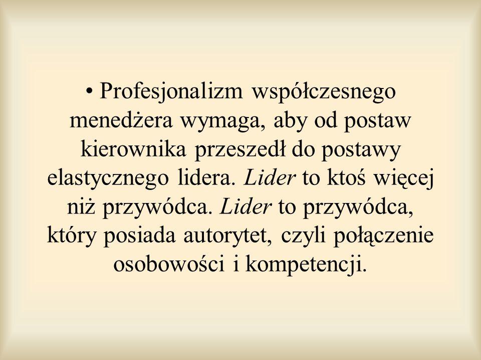 Profesjonalizm współczesnego menedżera wymaga, aby od postaw kierownika przeszedł do postawy elastycznego lidera.