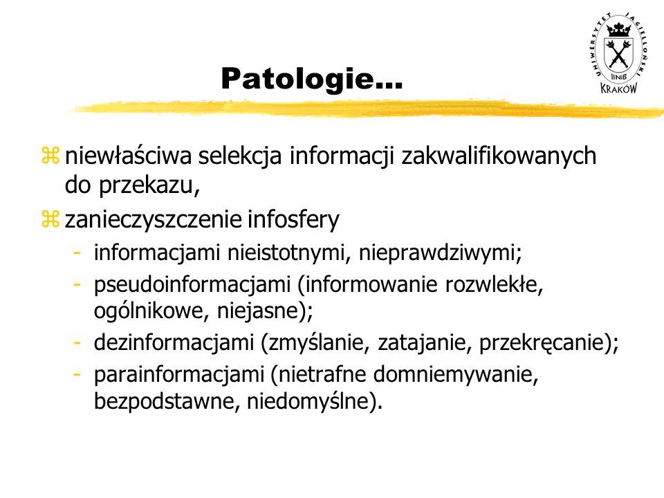 Patologie... niewłaściwa selekcja informacji zakwalifikowanych do przekazu, zanieczyszczenie infosfery.