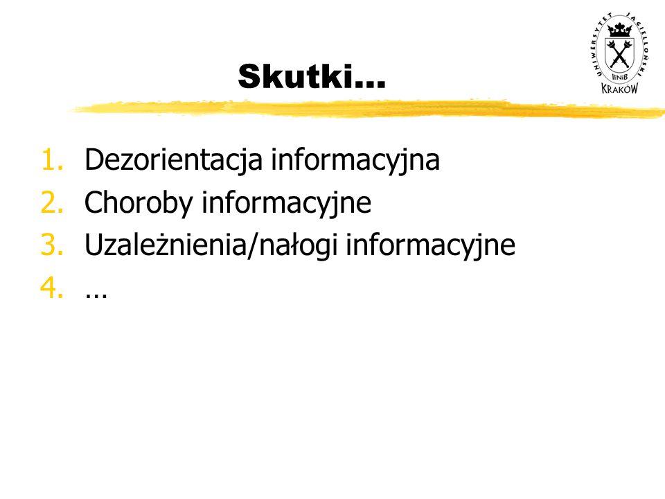 Skutki... Dezorientacja informacyjna Choroby informacyjne