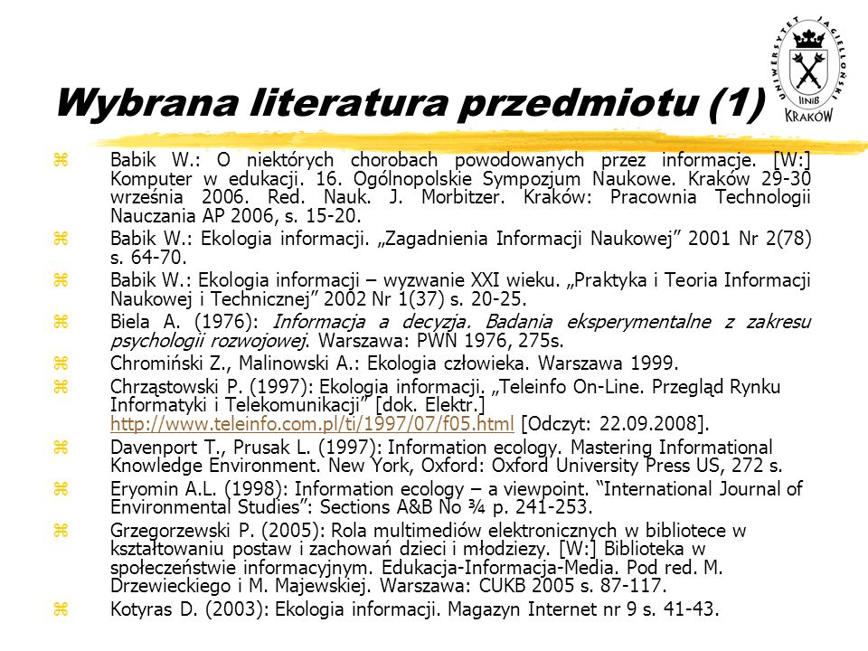 Wybrana literatura przedmiotu (1)