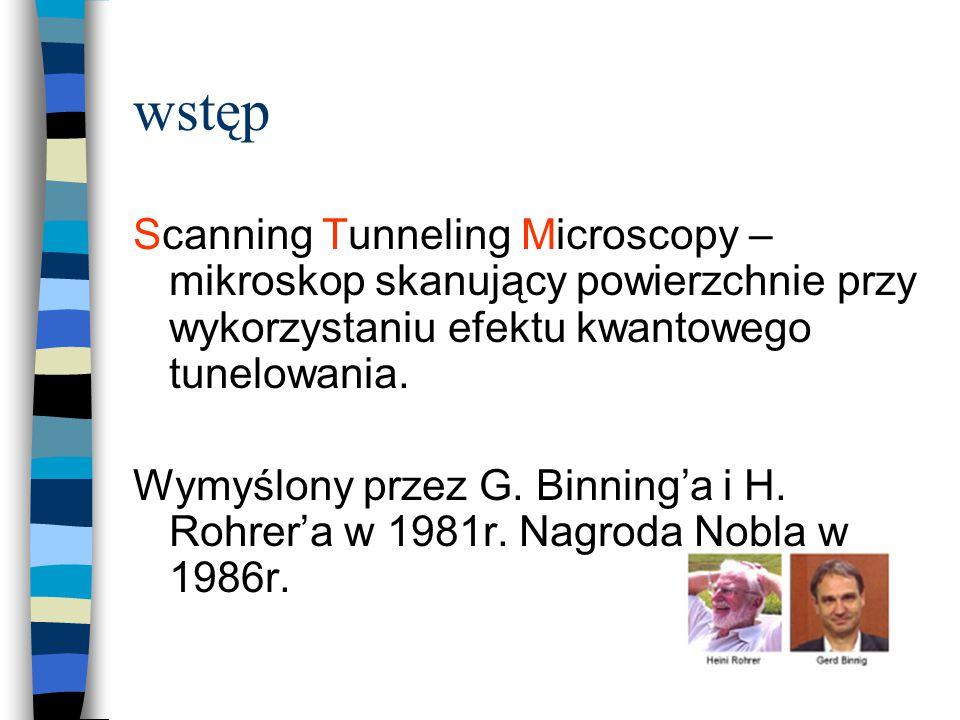 wstęp Scanning Tunneling Microscopy – mikroskop skanujący powierzchnie przy wykorzystaniu efektu kwantowego tunelowania.