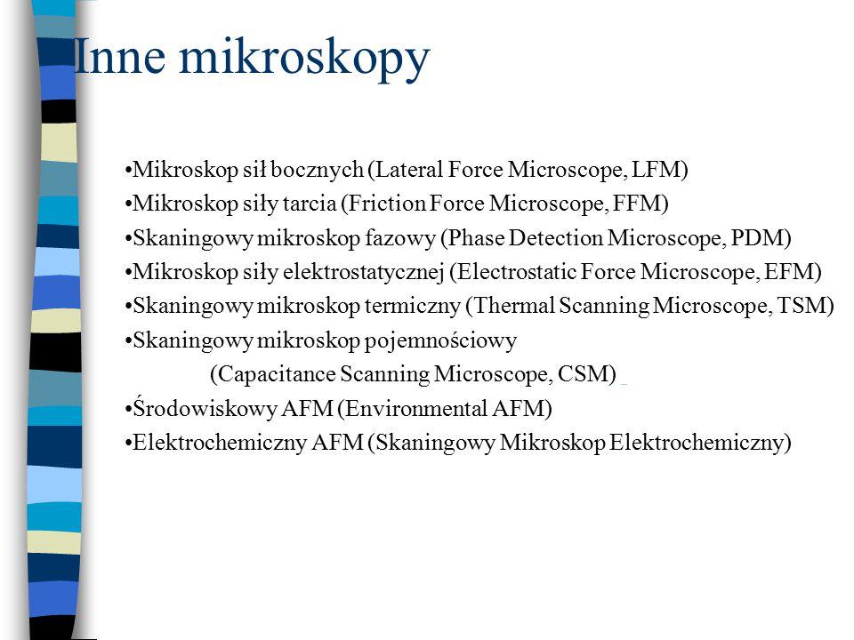 Inne mikroskopy Mikroskop sił bocznych (Lateral Force Microscope, LFM)