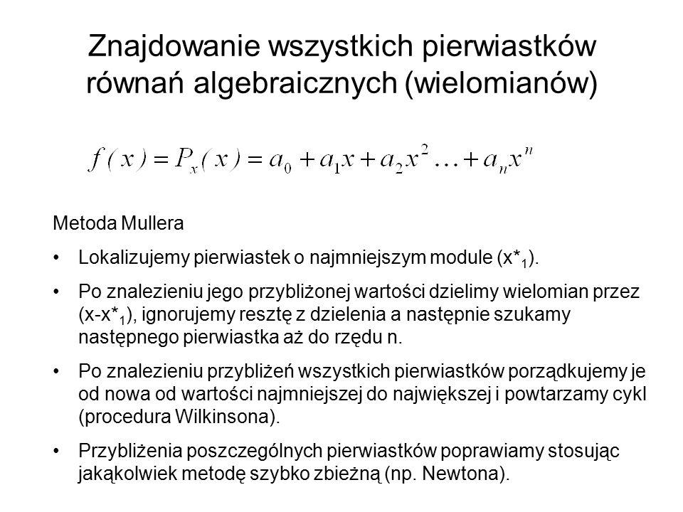 Znajdowanie wszystkich pierwiastków równań algebraicznych (wielomianów)