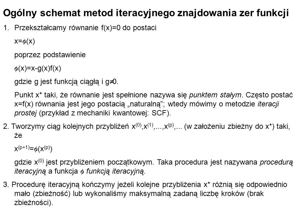 Ogólny schemat metod iteracyjnego znajdowania zer funkcji