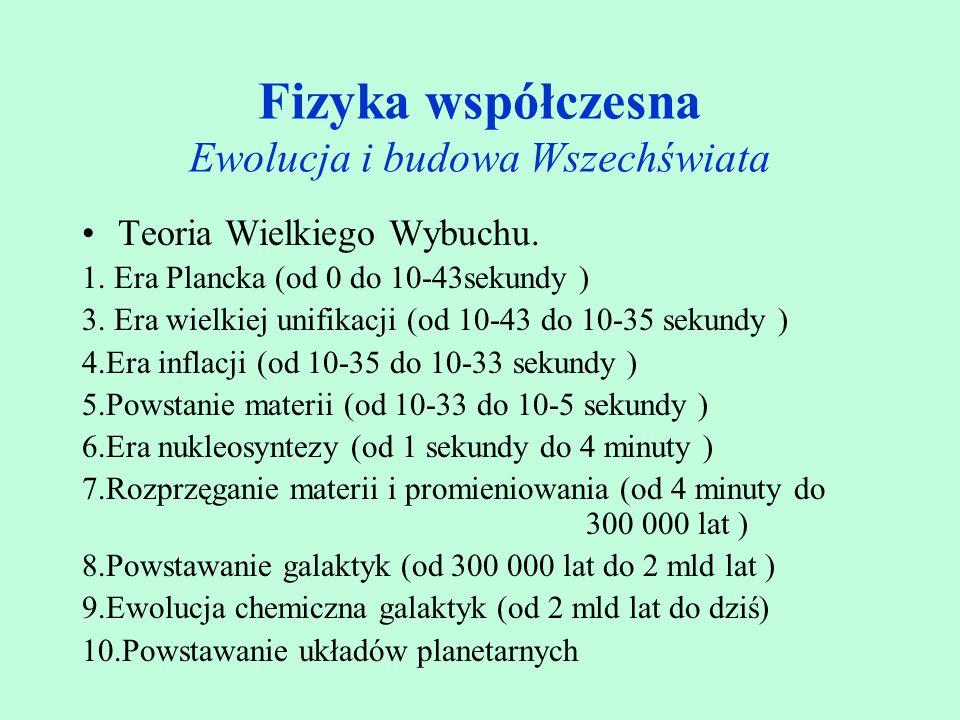 Fizyka współczesna Ewolucja i budowa Wszechświata