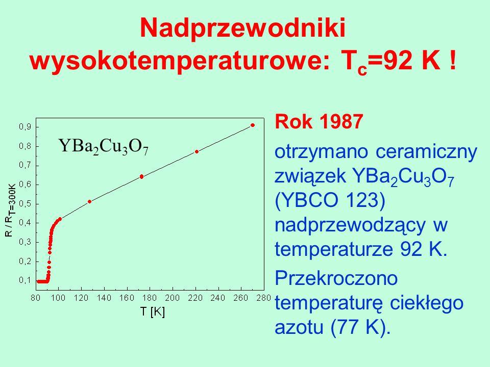 Nadprzewodniki wysokotemperaturowe: Tc=92 K !