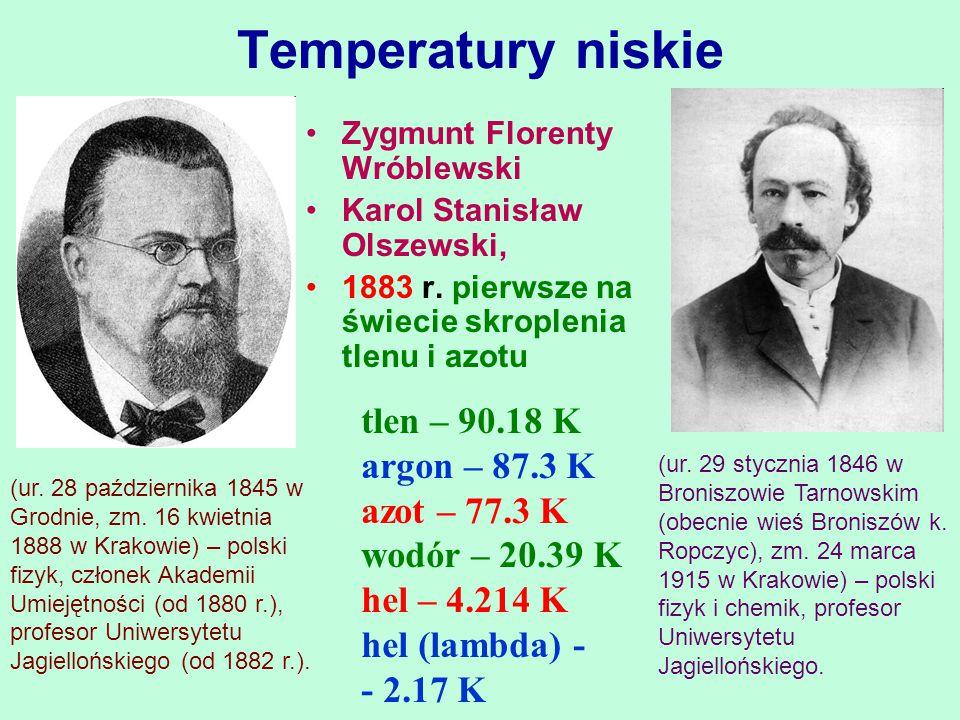 Temperatury niskie tlen – 90.18 K argon – 87.3 K azot – 77.3 K