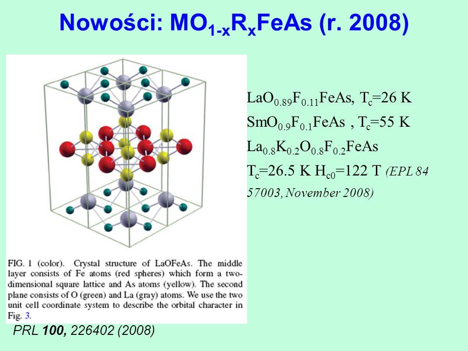 Nowości: MO1-xRxFeAs (r. 2008)
