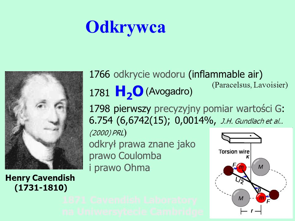 Odkrywca 1766 odkrycie wodoru (inflammable air) 1781 H2O (Avogadro)