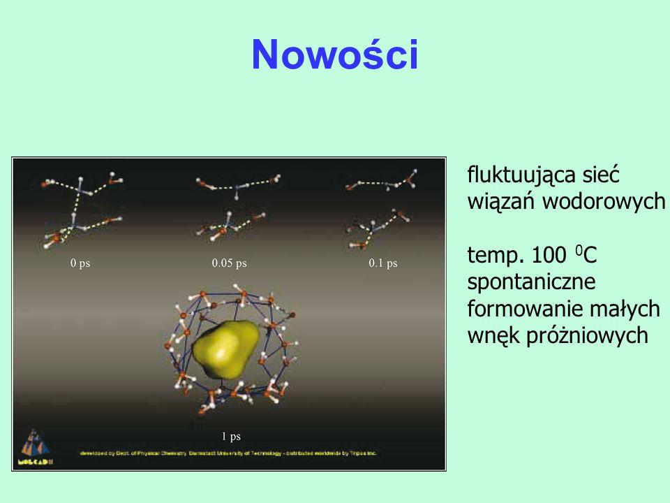 Nowości fluktuująca sieć wiązań wodorowych temp. 100 0C