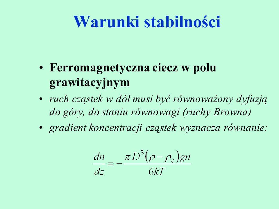 Warunki stabilności Ferromagnetyczna ciecz w polu grawitacyjnym