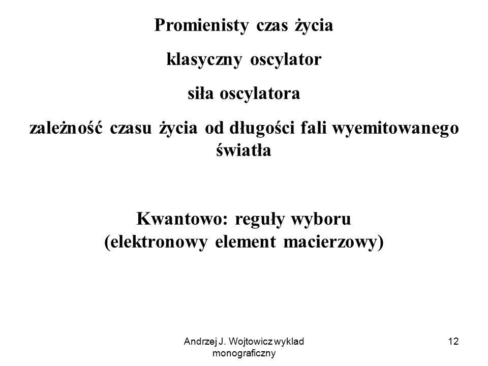 Promienisty czas życia klasyczny oscylator siła oscylatora